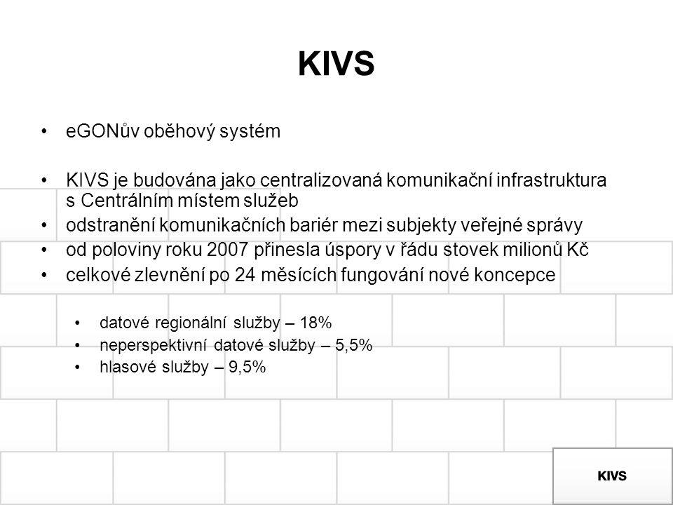 KIVS eGONův oběhový systém KIVS je budována jako centralizovaná komunikační infrastruktura s Centrálním místem služeb odstranění komunikačních bariér