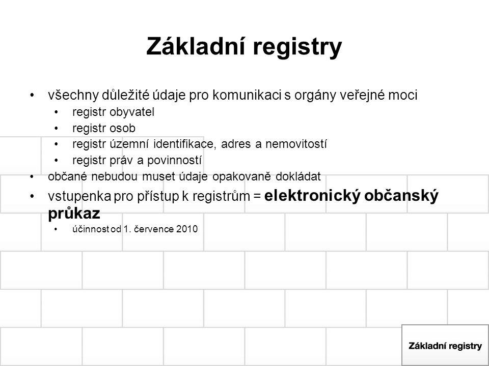 Základní registry všechny důležité údaje pro komunikaci s orgány veřejné moci registr obyvatel registr osob registr územní identifikace, adres a nemov