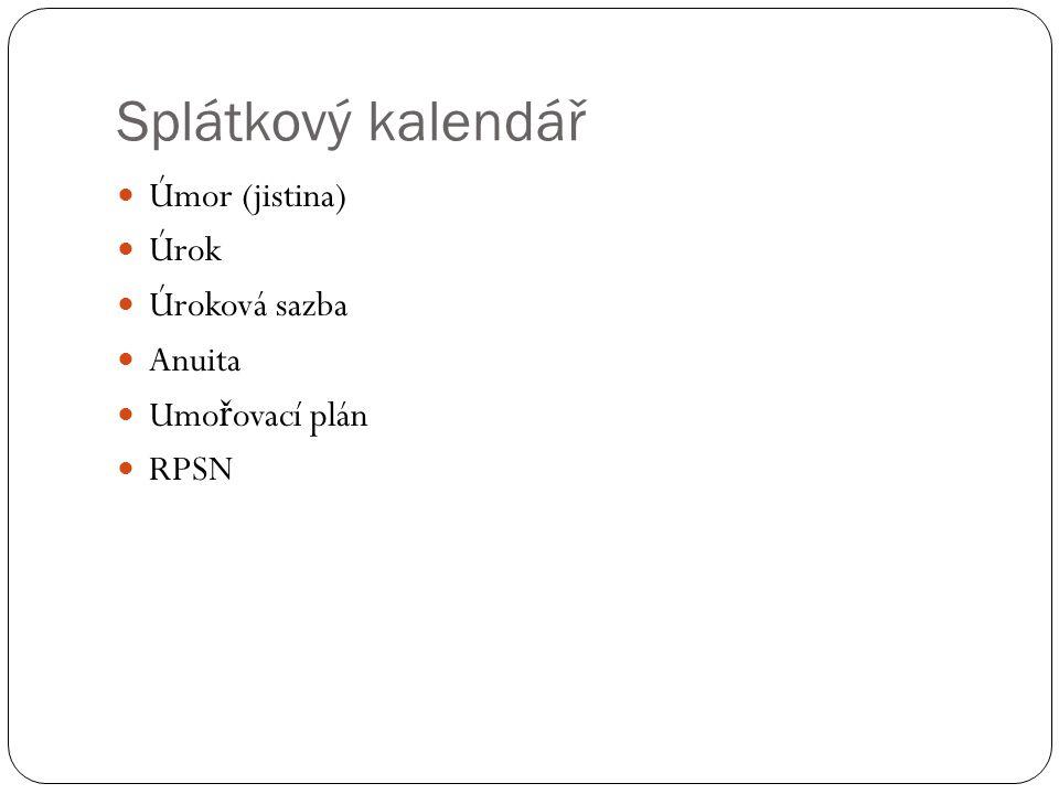 Splátkový kalendář Úmor (jistina) Úrok Úroková sazba Anuita Umo ř ovací plán RPSN