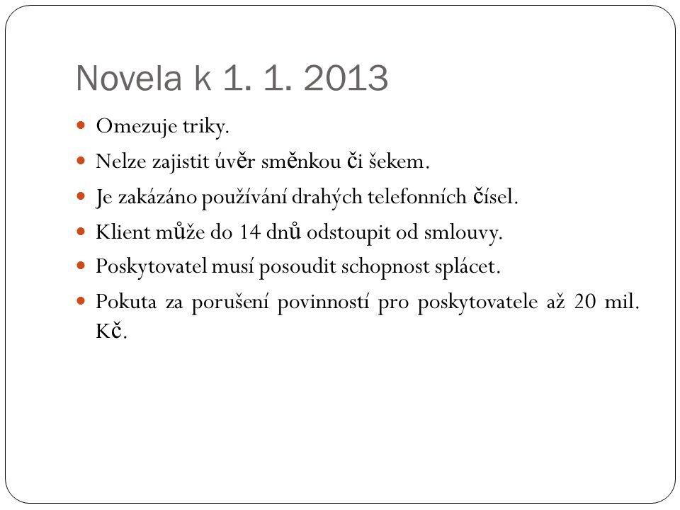 Novela k 1. 1. 2013 Omezuje triky. Nelze zajistit úv ě r sm ě nkou č i šekem.