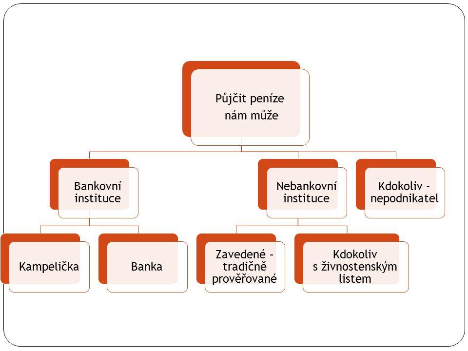 Půjčit peníze nám může Bankovní instituce KampeličkaBanka Nebankovní instituce Zavedené – tradičně prověřované Kdokoliv s živnostenským listem Kdokoliv - nepodnikatel