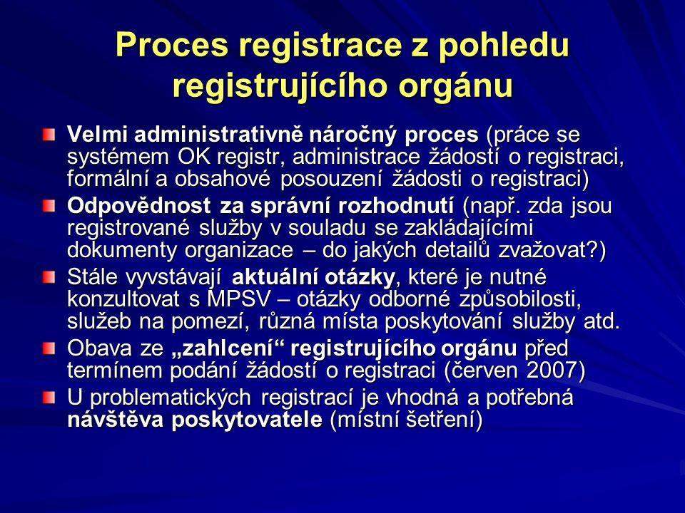 Proces registrace z pohledu registrujícího orgánu Velmi administrativně náročný proces (práce se systémem OK registr, administrace žádostí o registraci, formální a obsahové posouzení žádosti o registraci) Odpovědnost za správní rozhodnutí (např.