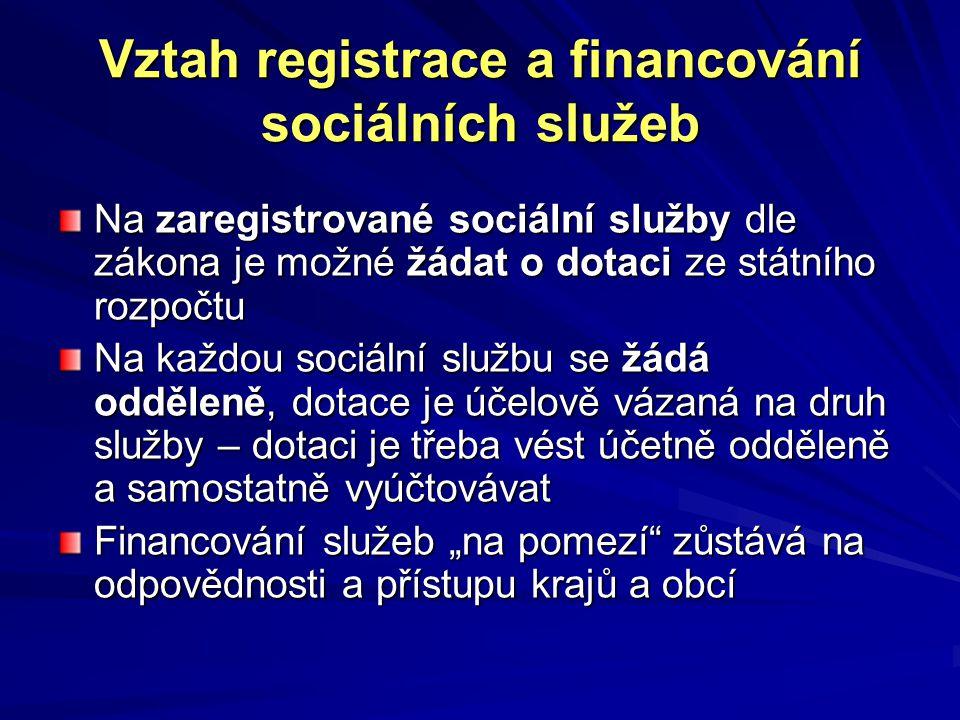 """Vztah registrace a financování sociálních služeb Na zaregistrované sociální služby dle zákona je možné žádat o dotaci ze státního rozpočtu Na každou sociální službu se žádá odděleně, dotace je účelově vázaná na druh služby – dotaci je třeba vést účetně odděleně a samostatně vyúčtovávat Financování služeb """"na pomezí zůstává na odpovědnosti a přístupu krajů a obcí"""