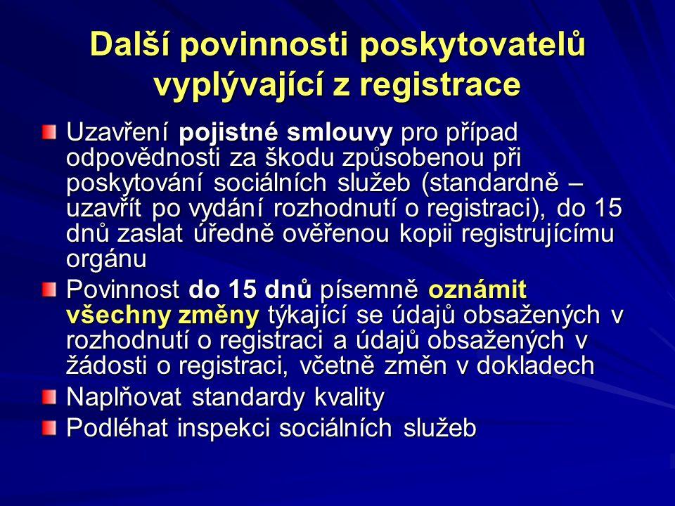 Další povinnosti poskytovatelů vyplývající z registrace Uzavření pojistné smlouvy pro případ odpovědnosti za škodu způsobenou při poskytování sociálních služeb (standardně – uzavřít po vydání rozhodnutí o registraci), do 15 dnů zaslat úředně ověřenou kopii registrujícímu orgánu Povinnost do 15 dnů písemně oznámit všechny změny týkající se údajů obsažených v rozhodnutí o registraci a údajů obsažených v žádosti o registraci, včetně změn v dokladech Naplňovat standardy kvality Podléhat inspekci sociálních služeb