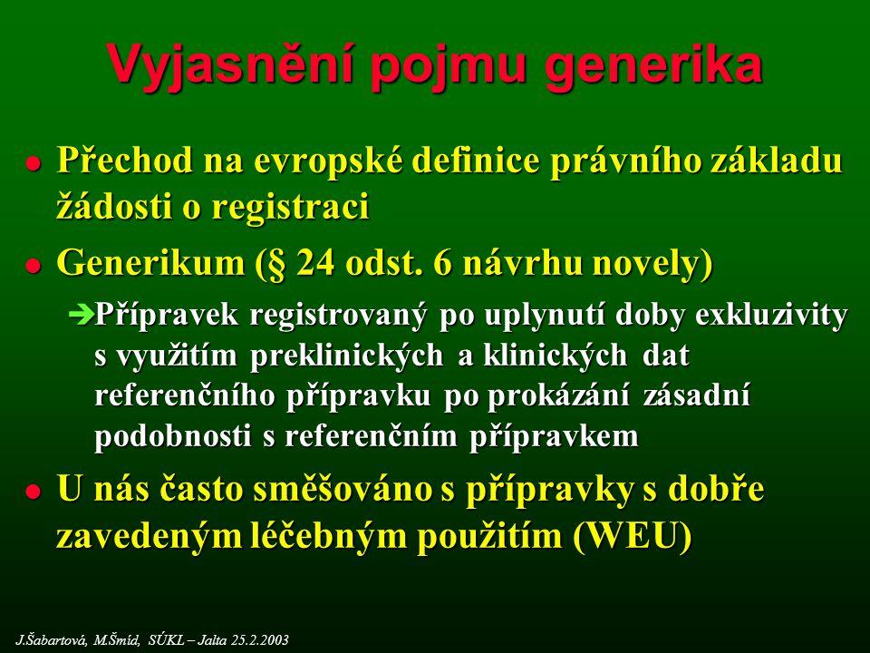 Vyjasnění pojmu generika l Přechod na evropské definice právního základu žádosti o registraci l Generikum (§ 24 odst.
