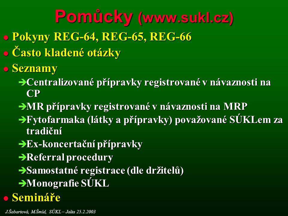 Pomůcky (www.sukl.cz) J.Šabartová, M.Šmíd, SÚKL – Jalta 25.2.2003 l Pokyny REG-64, REG-65, REG-66 l Často kladené otázky l Seznamy  Centralizované přípravky registrované v návaznosti na CP  MR přípravky registrované v návaznosti na MRP  Fytofarmaka (látky a přípravky) považované SÚKLem za tradiční  Ex-koncertační přípravky  Referral procedury  Samostatné registrace (dle držitelů)  Monografie SÚKL l Semináře