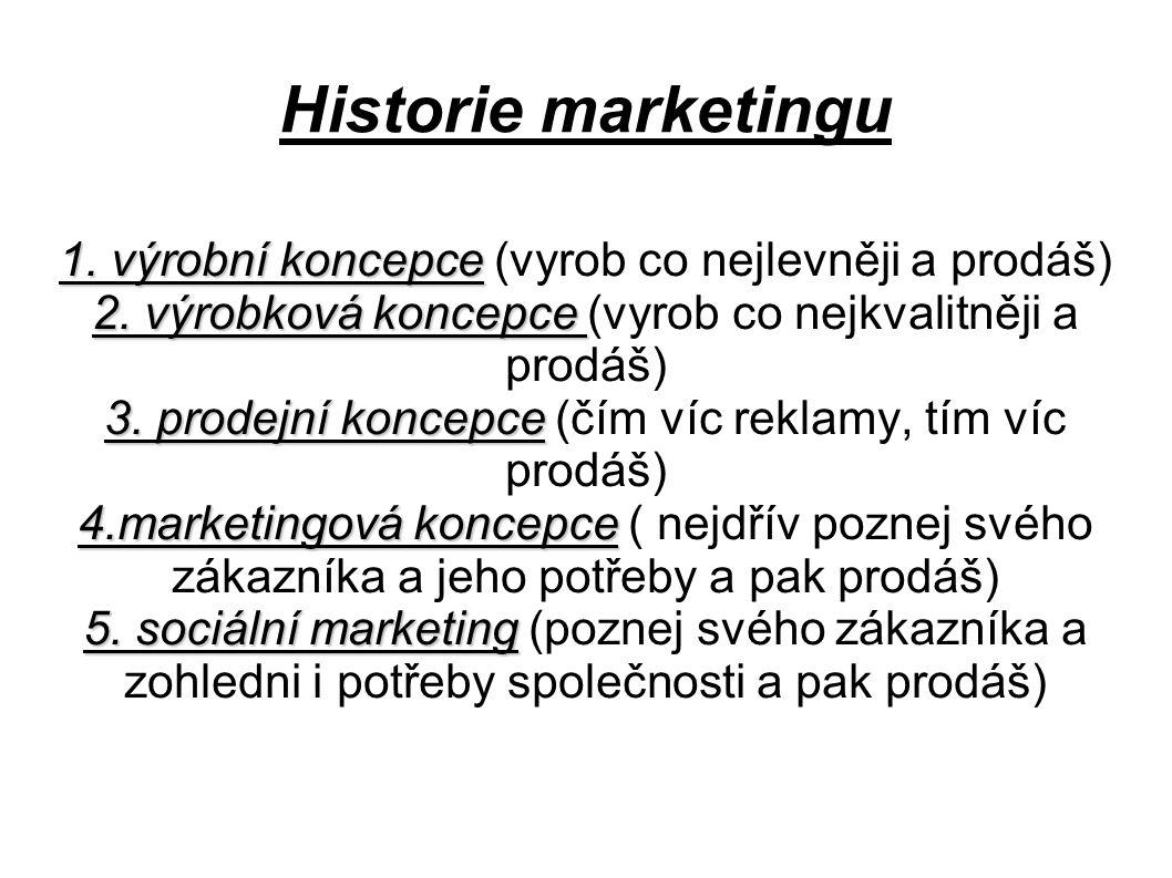 Historie marketingu 1.výrobní koncepce 1. výrobní koncepce (vyrob co nejlevněji a prodáš) 2.