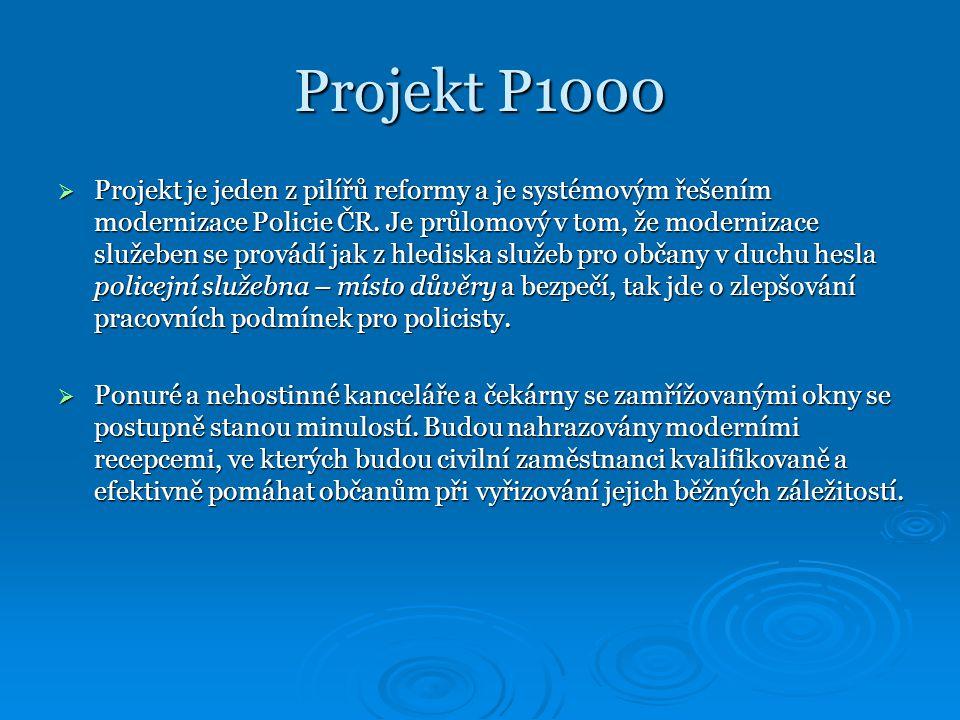 Projekt P1000  Projekt je jeden z pilířů reformy a je systémovým řešením modernizace Policie ČR.