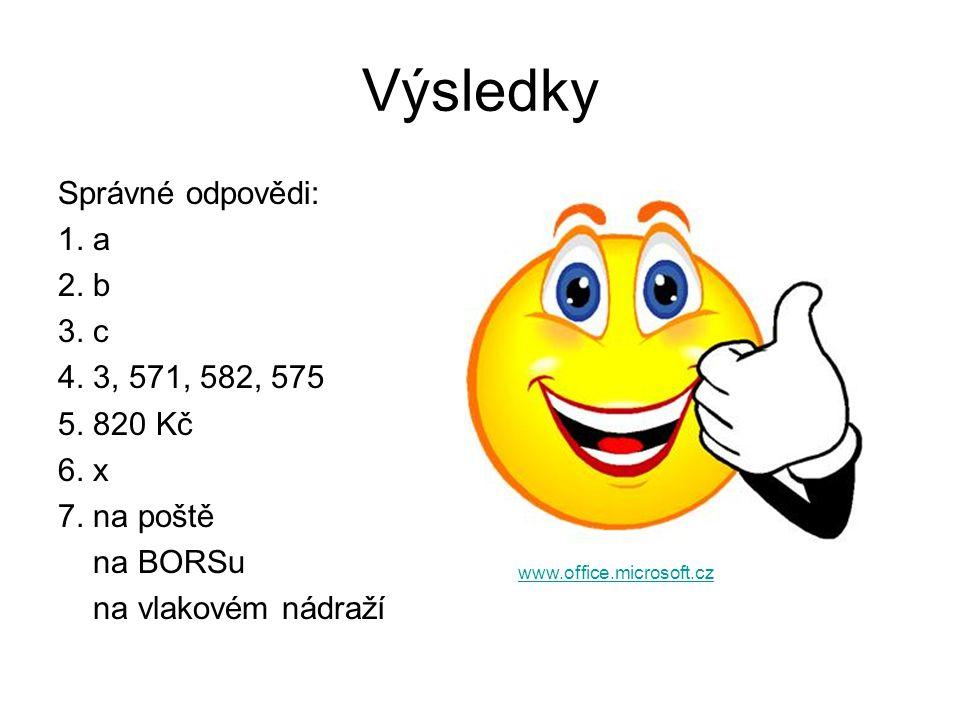 Výsledky Správné odpovědi: 1. a 2. b 3. c 4. 3, 571, 582, 575 5. 820 Kč 6. x 7. na poště na BORSu na vlakovém nádraží www.office.microsoft.cz