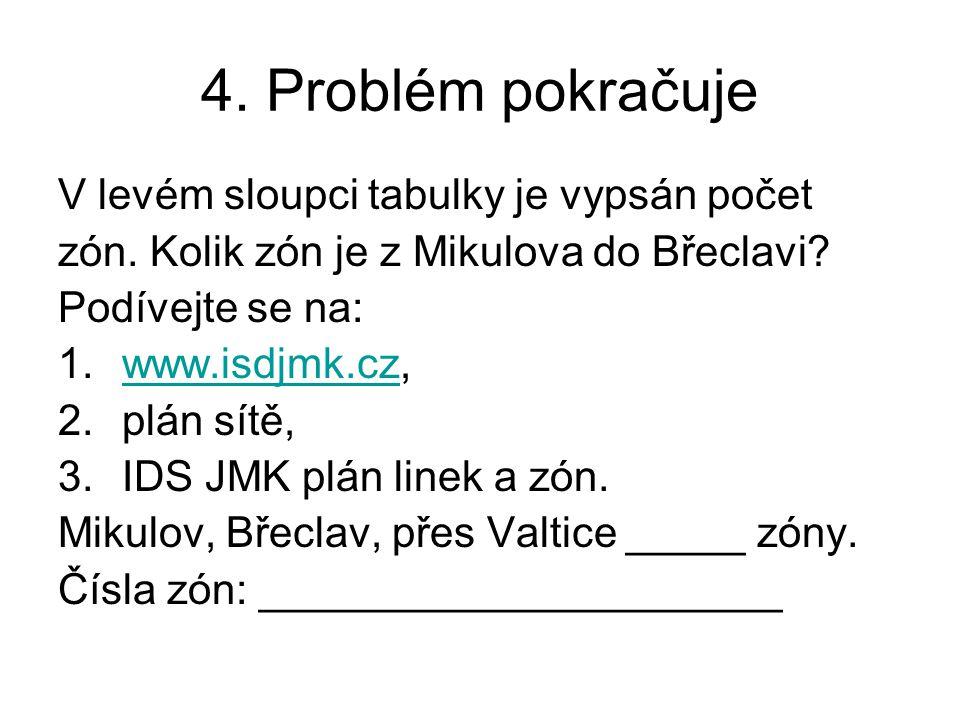 4. Problém pokračuje V levém sloupci tabulky je vypsán počet zón. Kolik zón je z Mikulova do Břeclavi? Podívejte se na: 1.www.isdjmk.cz,www.isdjmk.cz