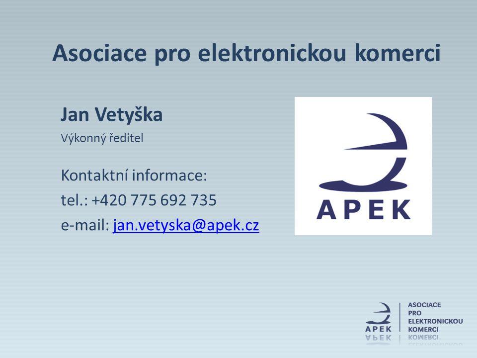Jan Vetyška Výkonný ředitel Kontaktní informace: tel.: +420 775 692 735 e-mail: jan.vetyska@apek.czjan.vetyska@apek.cz Asociace pro elektronickou kome