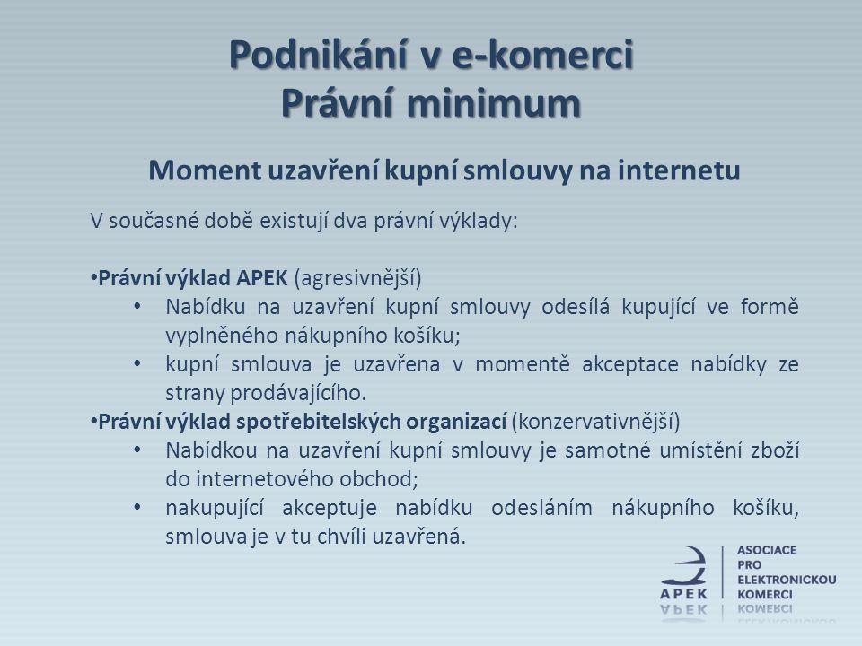 Moment uzavření kupní smlouvy na internetu V současné době existují dva právní výklady: Právní výklad APEK (agresivnější) Nabídku na uzavření kupní sm