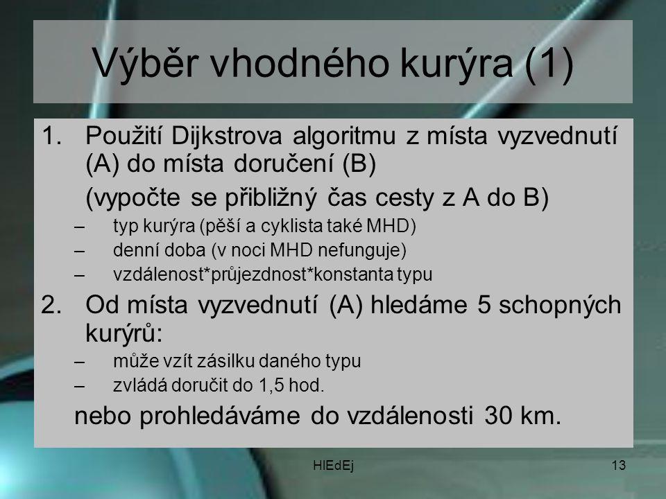 HlEdEj13 Výběr vhodného kurýra (1) 1.Použití Dijkstrova algoritmu z místa vyzvednutí (A) do místa doručení (B) (vypočte se přibližný čas cesty z A do B) –typ kurýra (pěší a cyklista také MHD) –denní doba (v noci MHD nefunguje) –vzdálenost*průjezdnost*konstanta typu 2.Od místa vyzvednutí (A) hledáme 5 schopných kurýrů: –může vzít zásilku daného typu –zvládá doručit do 1,5 hod.