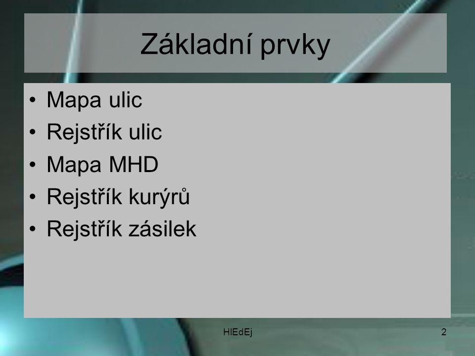 HlEdEj2 Základní prvky Mapa ulic Rejstřík ulic Mapa MHD Rejstřík kurýrů Rejstřík zásilek