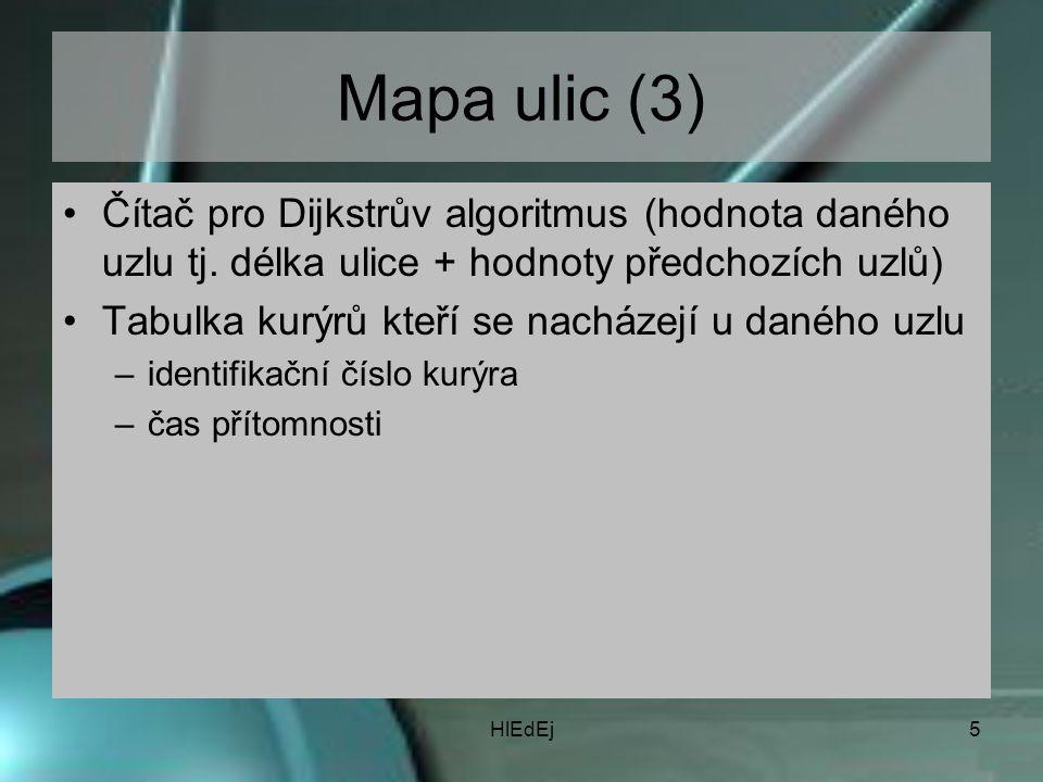 HlEdEj5 Mapa ulic (3) Čítač pro Dijkstrův algoritmus (hodnota daného uzlu tj.