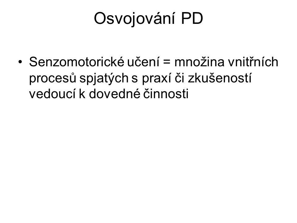 Osvojování PD Senzomotorické učení = množina vnitřních procesů spjatých s praxí či zkušeností vedoucí k dovedné činnosti