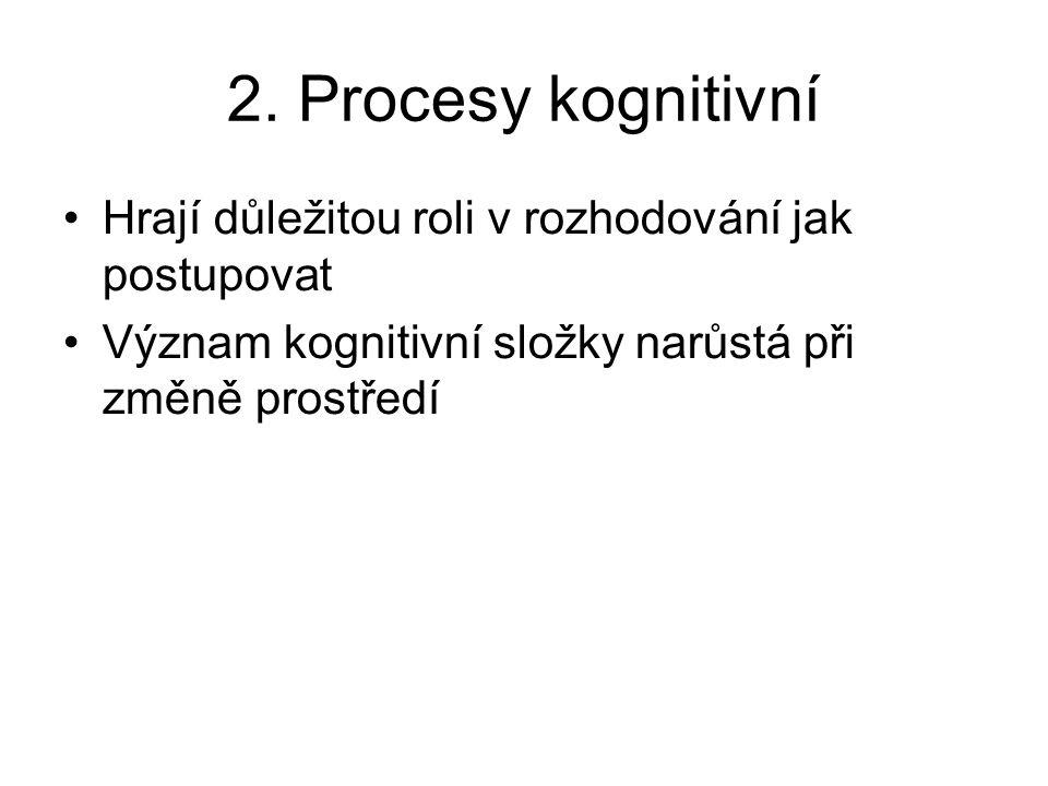 2. Procesy kognitivní Hrají důležitou roli v rozhodování jak postupovat Význam kognitivní složky narůstá při změně prostředí