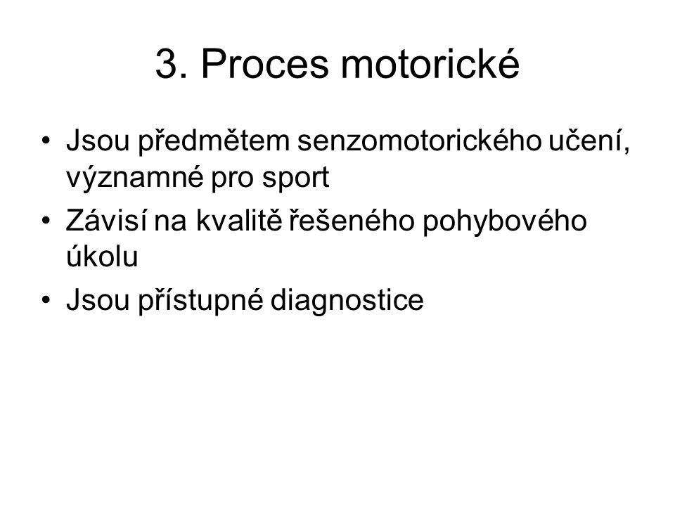 3. Proces motorické Jsou předmětem senzomotorického učení, významné pro sport Závisí na kvalitě řešeného pohybového úkolu Jsou přístupné diagnostice