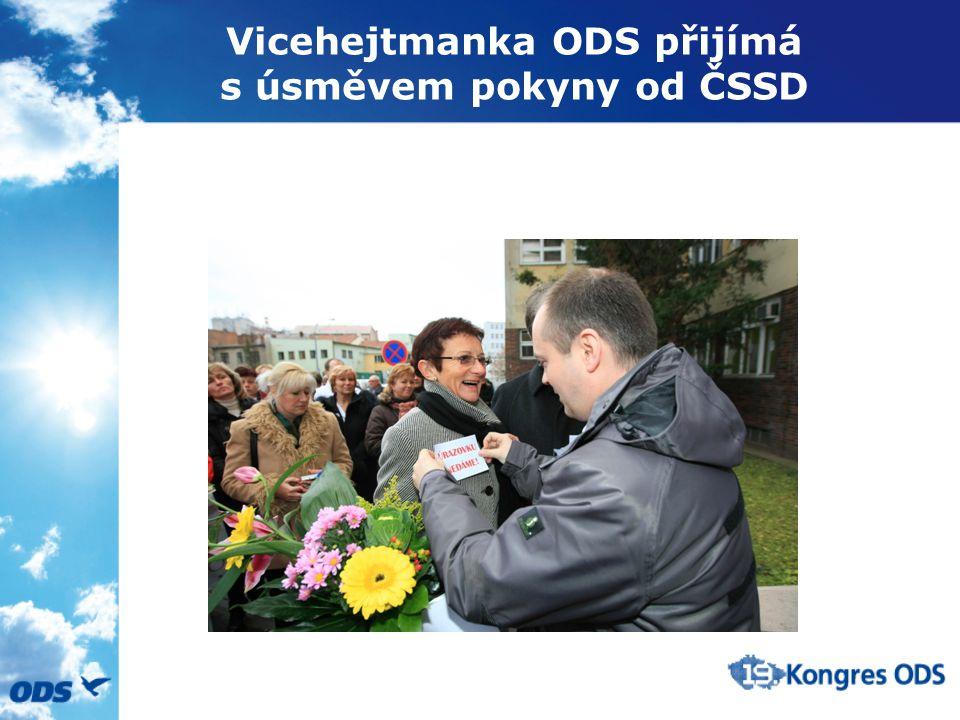 Vicehejtmanka ODS přijímá s úsměvem pokyny od ČSSD