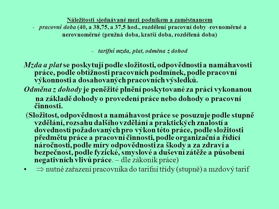 Kolektivní smlouvy -z ákon č. 2/1991 Sb., o kolektivním vyjednávání, podnikové (uzavřené mezi zaměstnavatelem a odborovým orgánem) vyššího stupně (pro