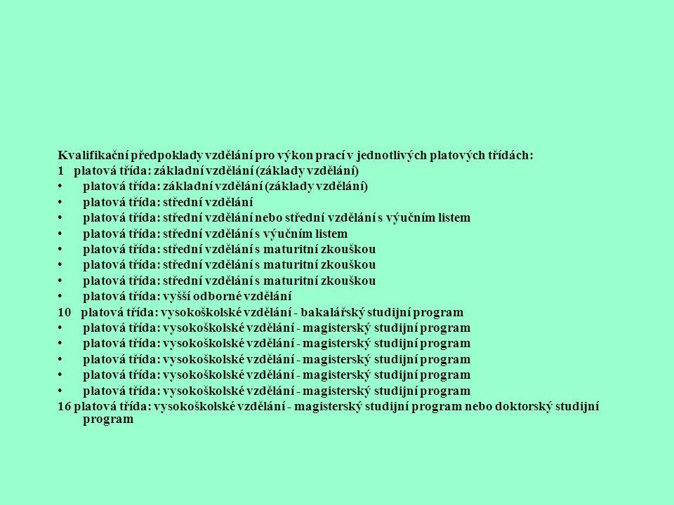 Nařízení vlády č. 469/2002 Sb.ze dne 5. srpna 2002, kterým se stanoví katalog prací a kvalifikační předpoklady a kterým se mění nařízení vlády o plato