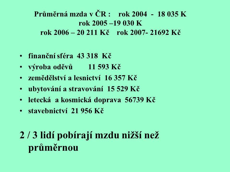 Průměrná mzda v ČR : rok 2004 - 18 035 K rok 2005 –19 030 K rok 2006 – 20 211 Kč rok 2007- 21692 Kč finanční sféra 43 318 Kč výroba oděvů 11 593 Kč zemědělství a lesnictví 16 357 Kč ubytování a stravování 15 529 Kč letecká a kosmická doprava 56739 Kč stavebnictví 21 956 Kč 2 / 3 lidí pobírají mzdu nižší než průměrnou