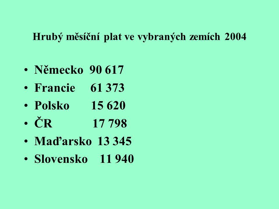 Hrubý měsíční plat ve vybraných zemích 2004 Německo 90 617 Francie 61 373 Polsko 15 620 ČR 17 798 Maďarsko 13 345 Slovensko 11 940