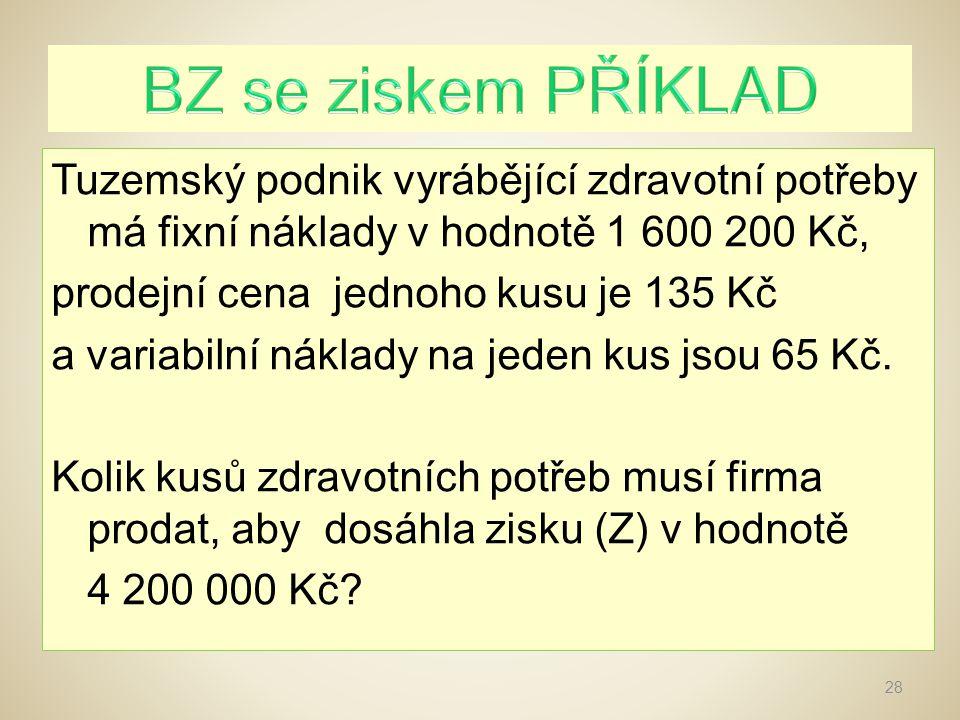 82 860 = 1 600 200 + 4 200 000 / 135 - 65 29 Firma musí prodat 82 860 ks zdravotních potřeb, aby dosáhla zisku 4 200 000 Kč.