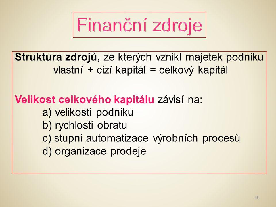 Výše vlastního kapitálu se mění podle výsledků hospodaření.