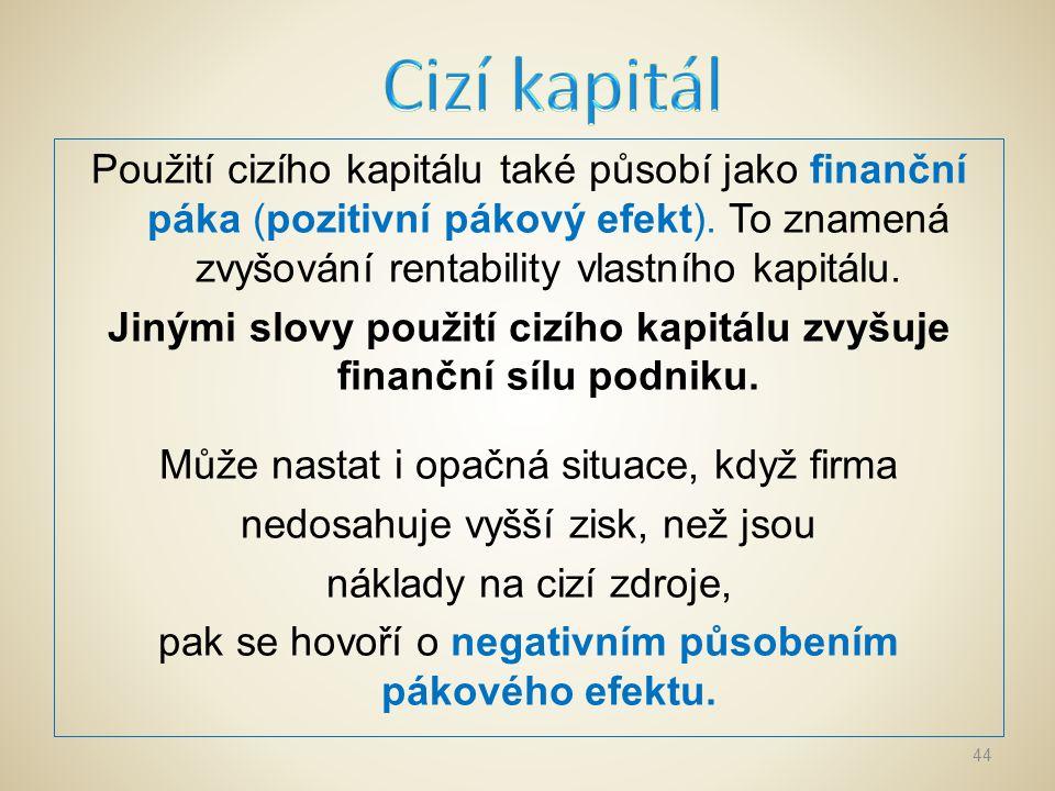Nevýhody použití cizího kapitálu: zvyšuje zadluženost podniku, a tím omezuje jednání managementu.