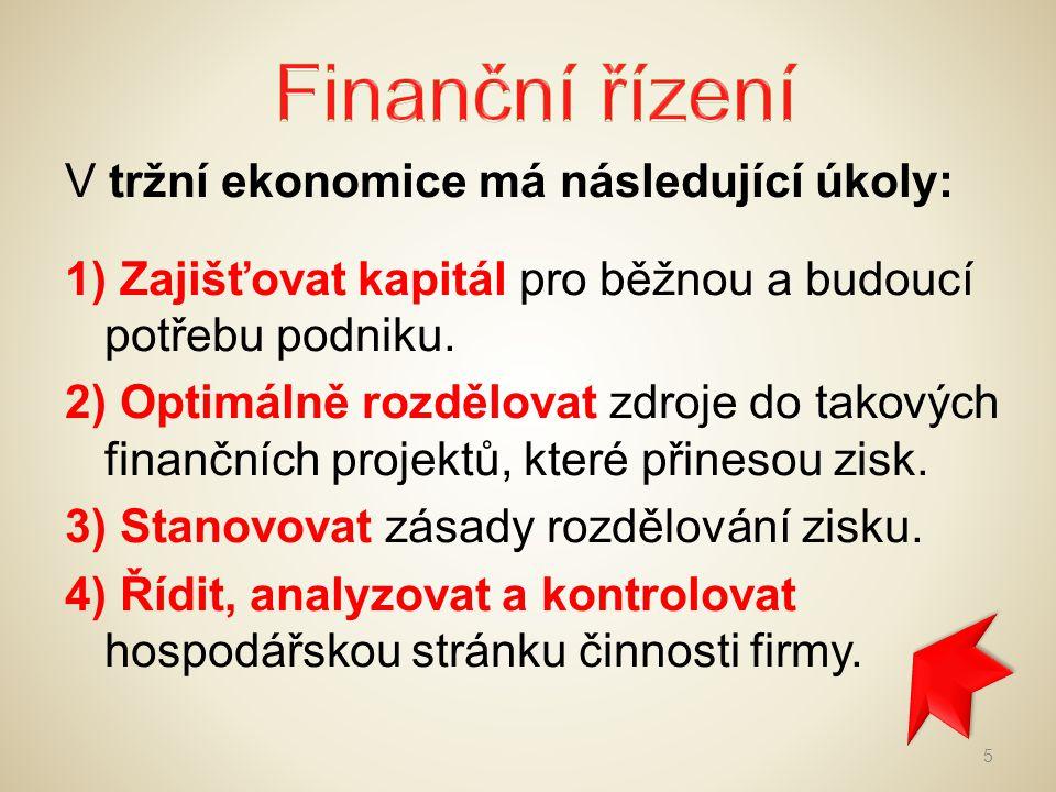 Do finančního řízení patří dále: a)řízení cash flow b)finanční analýza (hodnocení finanční výkonnosti podniku v čase) c) finanční plánování Finanční řízení má dva základní pohledy 1) náklady a výnosy 2) potřeby a zdroje financování 6