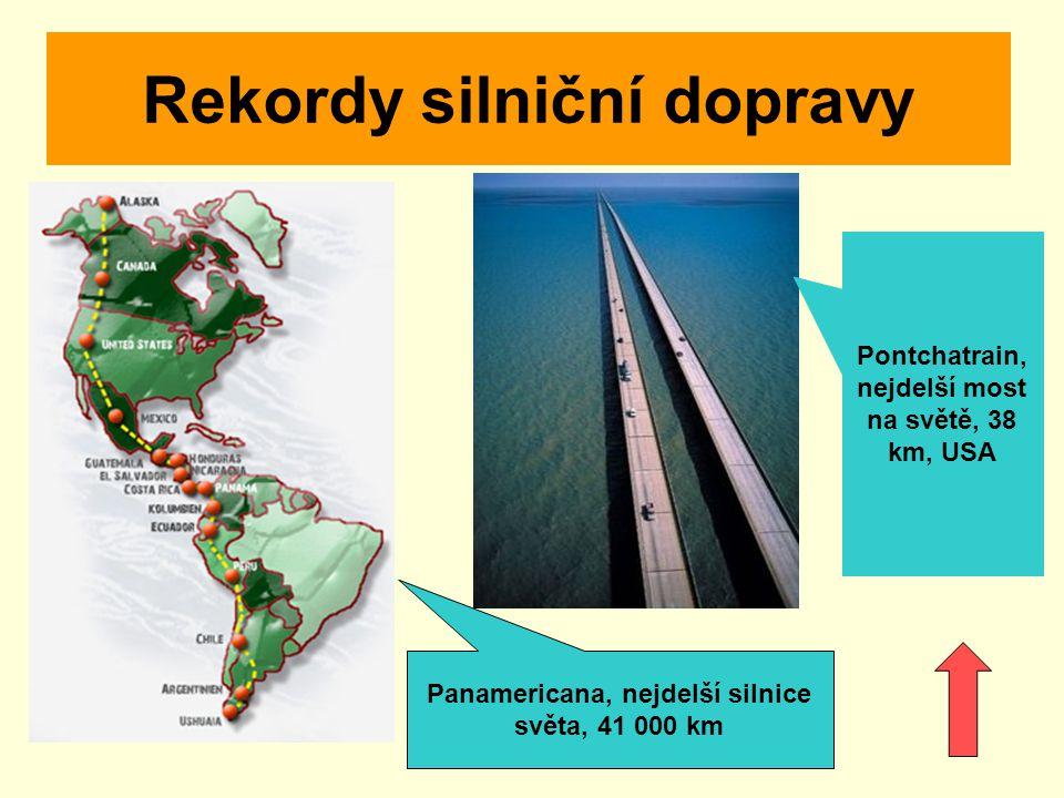 Rekordy silniční dopravy Pontchatrain, nejdelší most na světě, 38 km, USA Panamericana, nejdelší silnice světa, 41 000 km
