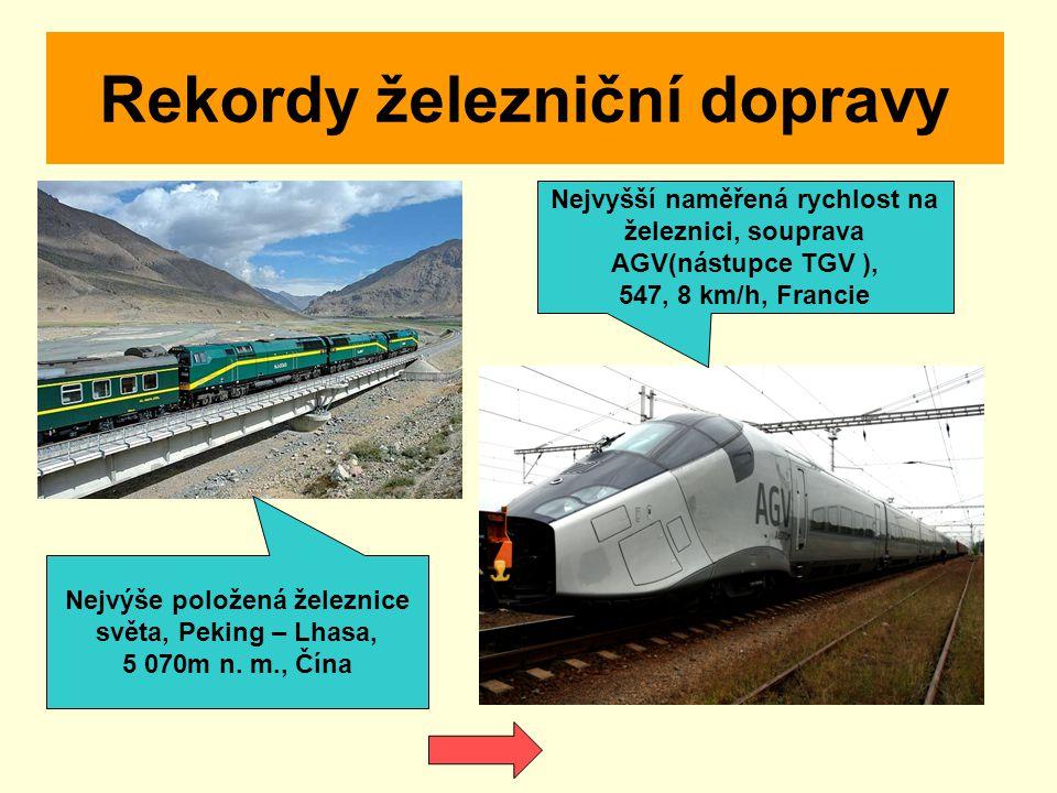 Rekordy železniční dopravy Nejvýše položená železnice světa, Peking – Lhasa, 5 070m n. m., Čína Nejvyšší naměřená rychlost na železnici, souprava AGV(