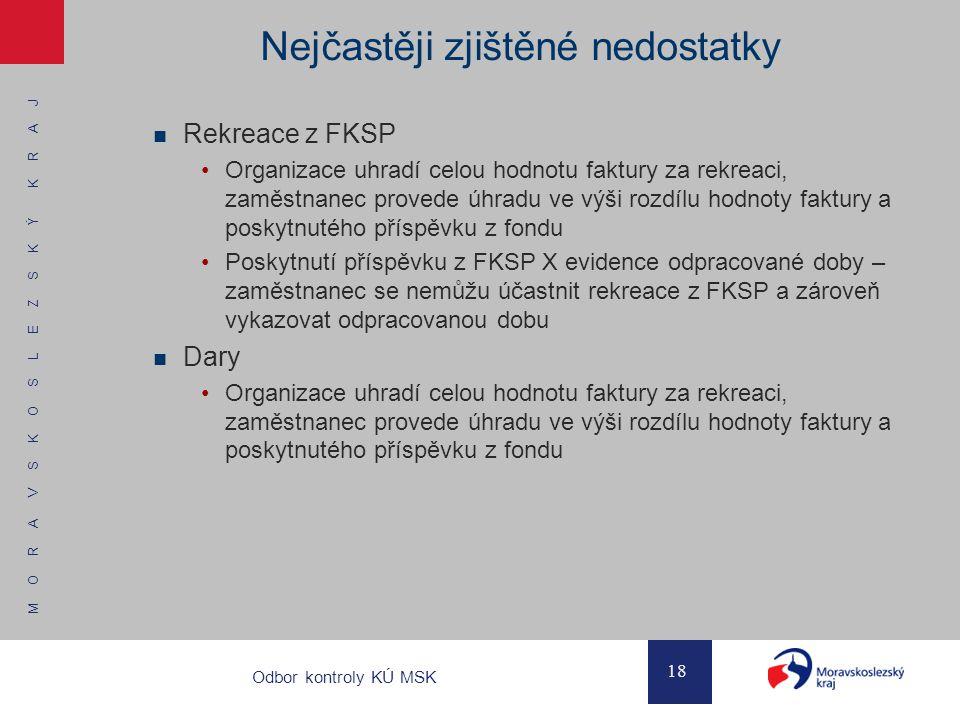 M O R A V S K O S L E Z S K Ý K R A J 18 Odbor kontroly KÚ MSK Nejčastěji zjištěné nedostatky Rekreace z FKSP Organizace uhradí celou hodnotu faktury