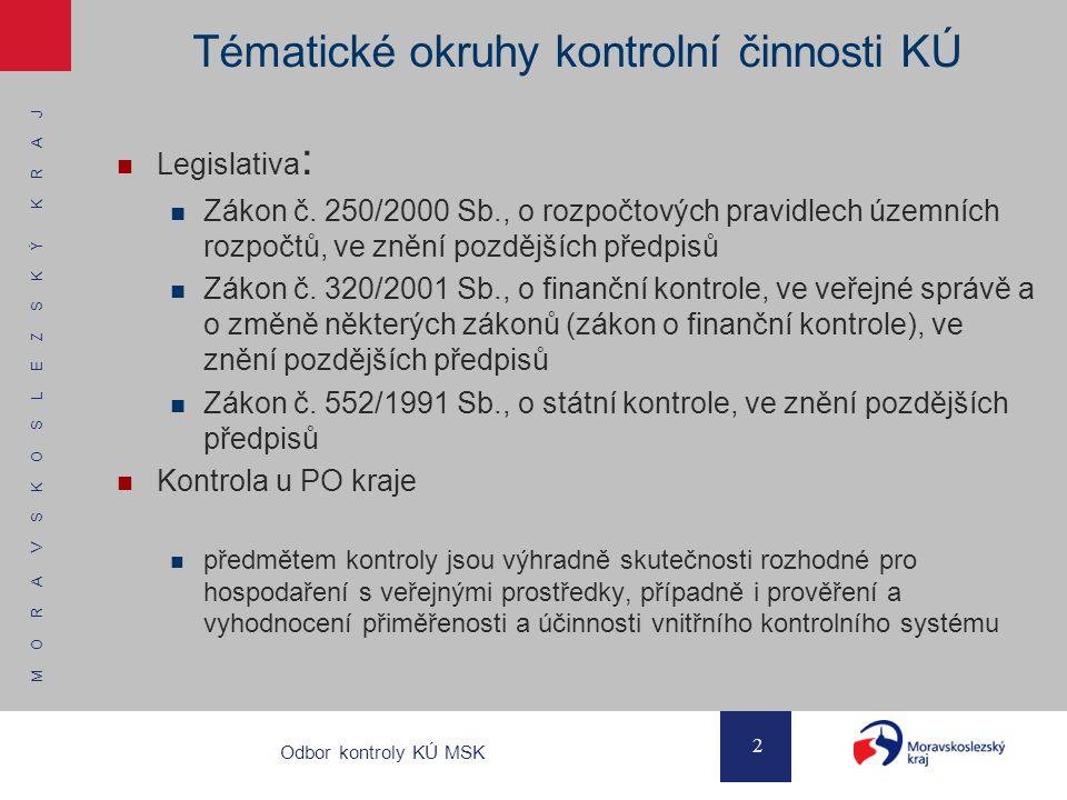 M O R A V S K O S L E Z S K Ý K R A J 2 Odbor kontroly KÚ MSK Tématické okruhy kontrolní činnosti KÚ Legislativa : Zákon č. 250/2000 Sb., o rozpočtový