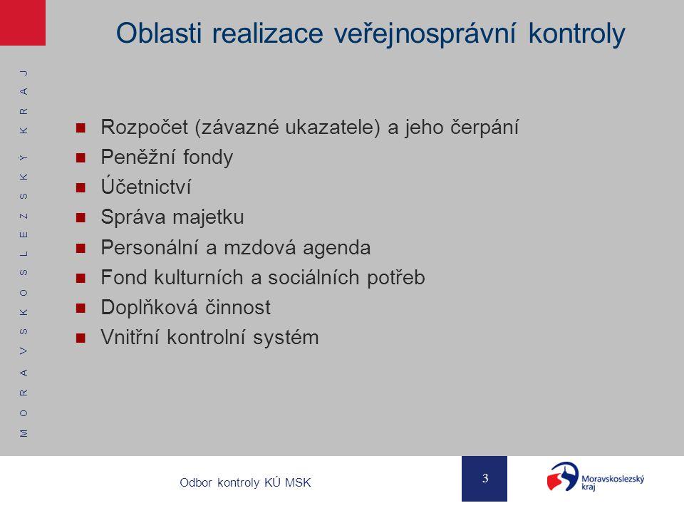 M O R A V S K O S L E Z S K Ý K R A J 3 Odbor kontroly KÚ MSK Oblasti realizace veřejnosprávní kontroly Rozpočet (závazné ukazatele) a jeho čerpání Pe
