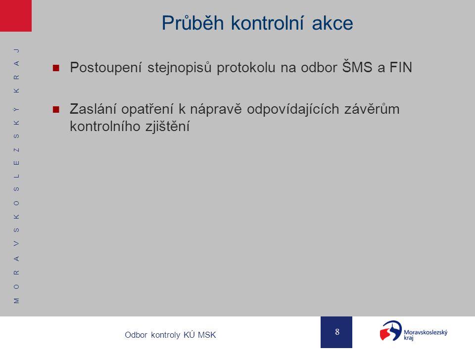 M O R A V S K O S L E Z S K Ý K R A J 8 Odbor kontroly KÚ MSK Průběh kontrolní akce Postoupení stejnopisů protokolu na odbor ŠMS a FIN Zaslání opatřen