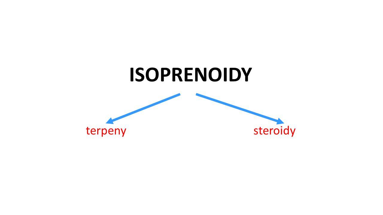 Isoprenoidy : ● přírodní látky ● skládají se z isoprenových, C 5 jednotek isopren 2-methylbuta-1,3-dien (v polymeru) ()n)n