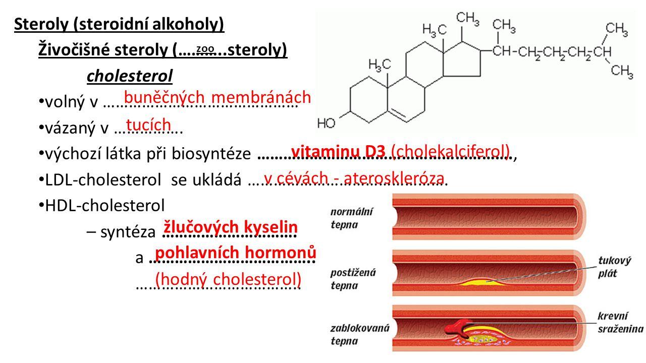 Steroly (steroidní alkoholy) Živočišné steroly (………..steroly) cholesterol volný v ……………………………………… vázaný v ……………. výchozí látka při biosyntéze …………………