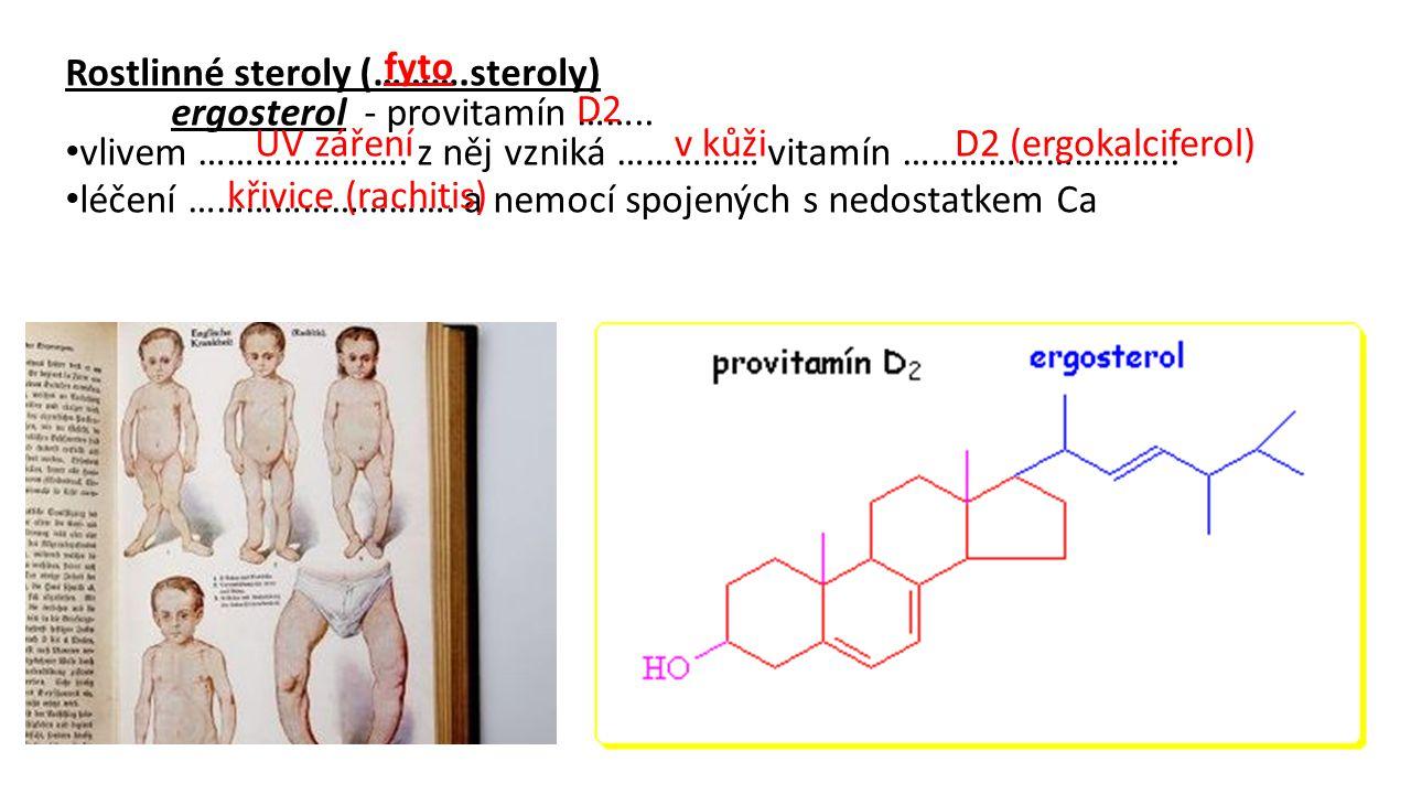 Rostlinné steroly (……….steroly) ergosterol - provitamín …….. vlivem …………………. z něj vzniká …………… vitamín ……………………….. léčení ………………………. a nemocí spojený