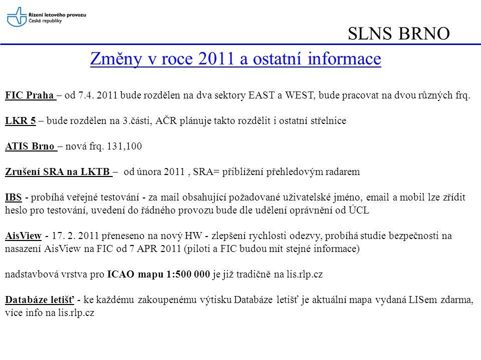 Změny v roce 2011 a ostatní informace FIC Praha – od 7.4.