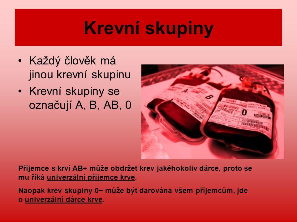 Krevní skupiny Každý člověk má jinou krevní skupinu Krevní skupiny se označují A, B, AB, 0 Příjemce s krví AB+ může obdržet krev jakéhokoliv dárce, proto se mu říká univerzální příjemce krve.