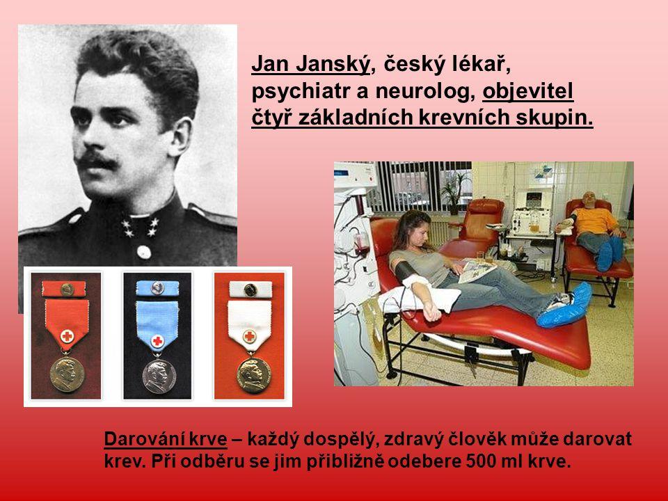 Jan Janský, český lékař, psychiatr a neurolog, objevitel čtyř základních krevních skupin. Darování krve – každý dospělý, zdravý člověk může darovat kr