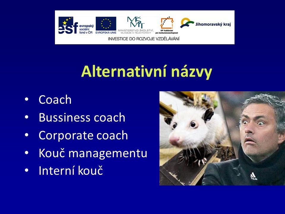 Alternativní názvy Coach Bussiness coach Corporate coach Kouč managementu Interní kouč
