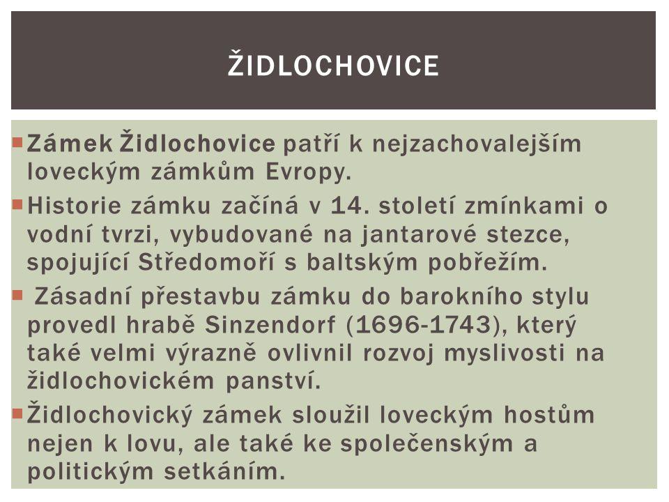  Zámek Židlochovice patří k nejzachovalejším loveckým zámkům Evropy.  Historie zámku začíná v 14. století zmínkami o vodní tvrzi, vybudované na jant