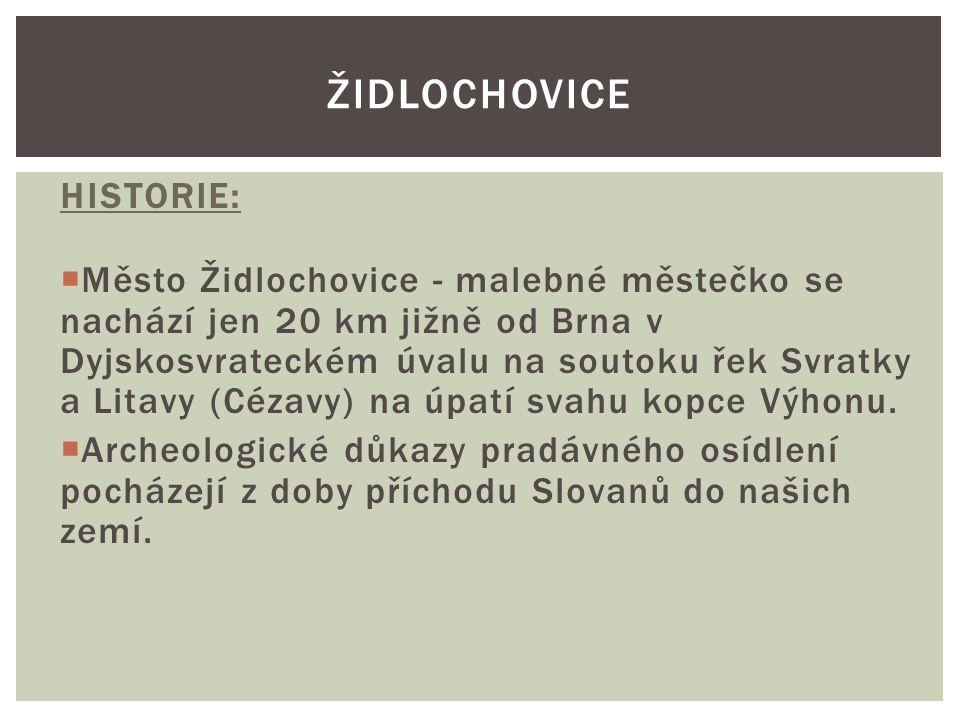 HISTORIE:  Město Židlochovice - malebné městečko se nachází jen 20 km jižně od Brna v Dyjskosvrateckém úvalu na soutoku řek Svratky a Litavy (Cézavy)