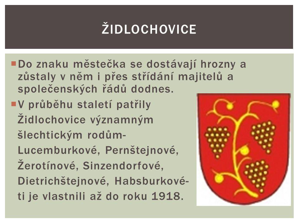 SOUČASNOST:  V roce 2011 měly Židlochovice 3533 obyvatel.