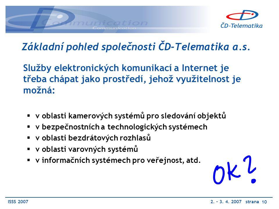 ISSS 20072. – 3. 4. 2007 strana 10 Základní pohled společnosti ČD-Telematika a.s.