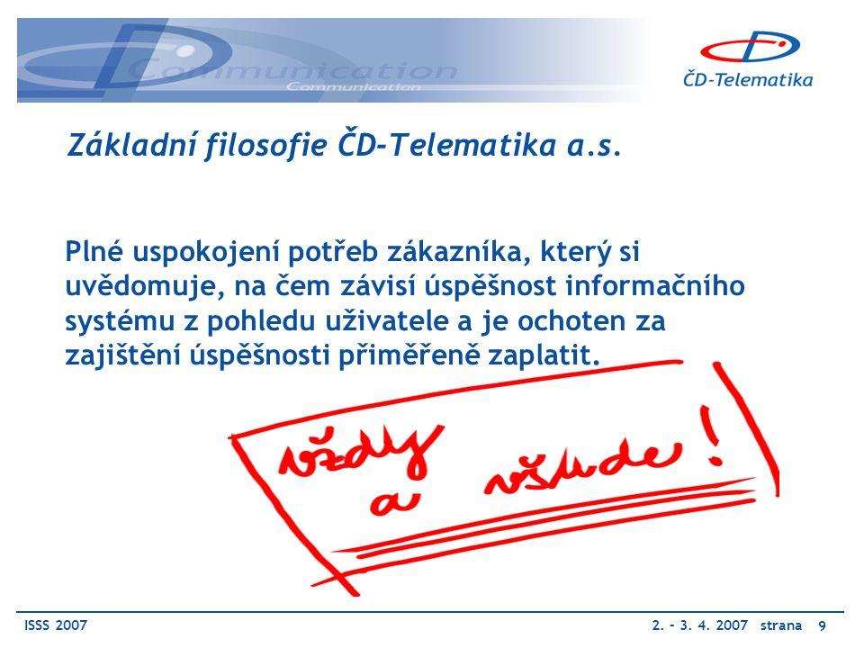 ISSS 20072. – 3. 4. 2007 strana 9 Základní filosofie ČD-Telematika a.s.