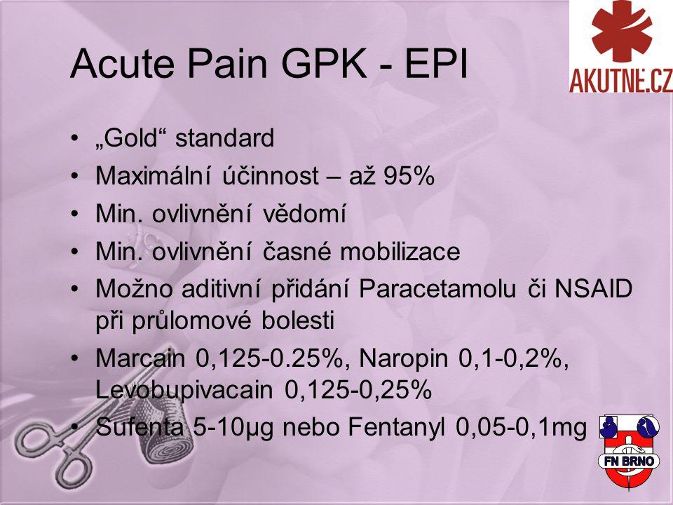 """Acute Pain GPK - EPI """"Gold"""" standard Maximální účinnost – až 95% Min. ovlivnění vědomí Min. ovlivnění časné mobilizace Možno aditivní přidání Paraceta"""